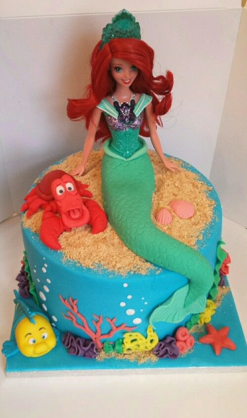 how to make a little mermaid doll cake