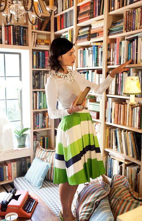 Bookshelves but the skirt sets it off
