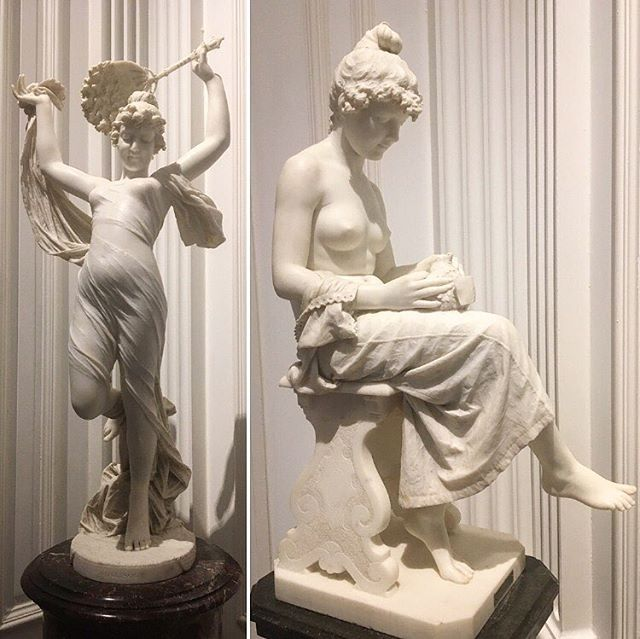 """White marble works of #art. These #sculptures were created by two different Italian #artists, both completed in the late 1800's. To the right we have a piece titled """"All' Amor Mio"""" (To My Love). It was sculpted by Lot Torelli. To the left was we have a piece titled Odalisca. It was sculpted by Cesare Lapini. Both pieces were gifts of W. Welsh Harrison, Jr., given to the Union League in 1929. #History #HistoryLovers #ArtLovers #Sculpture"""
