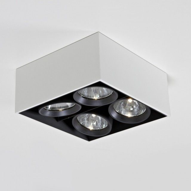 flos compass box 4 square ceiling lamp white lacquered. Black Bedroom Furniture Sets. Home Design Ideas
