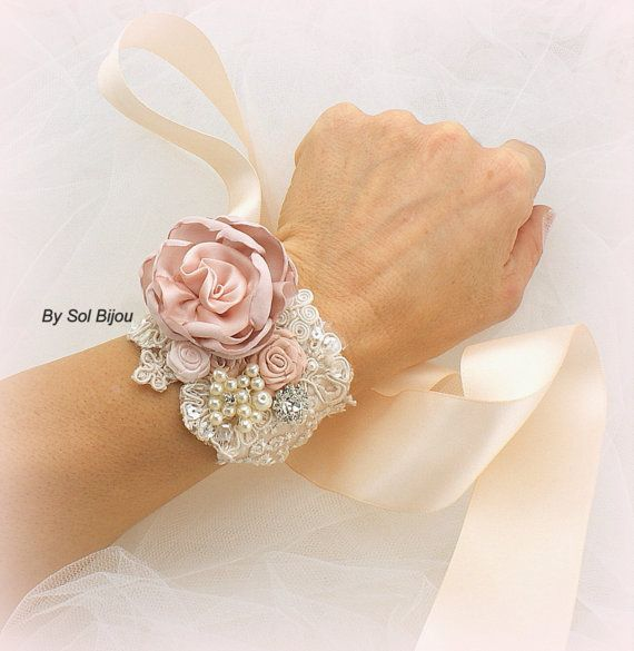 Bridal Wrist Corsage in Champagne, Rose and Blush with Peals, Crystal and Lace
