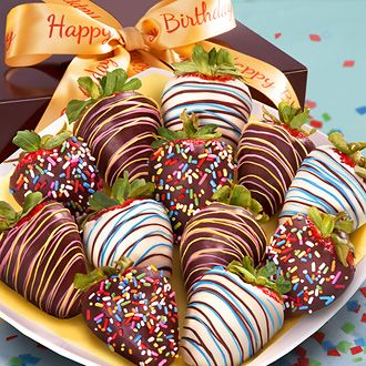 Happy Birthday Chocolate Covered Strawberries - 12 Berries with Birthday Ribbon
