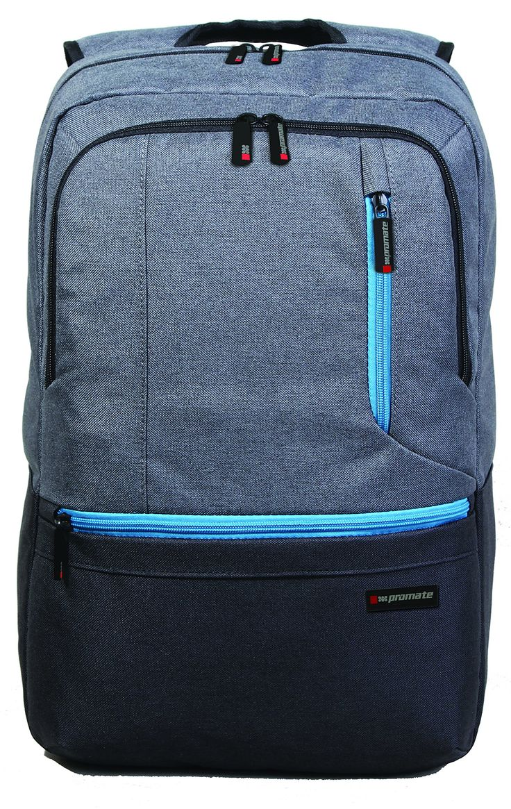 Promate Ascend-Bp Premium Accented Water-Resistant Laptop Backpack For 15.6-Inch Acer/Asus/Lenovo/Sony/Samsung/Dell/Toshiba/Hp/Apple Notebook - Grey