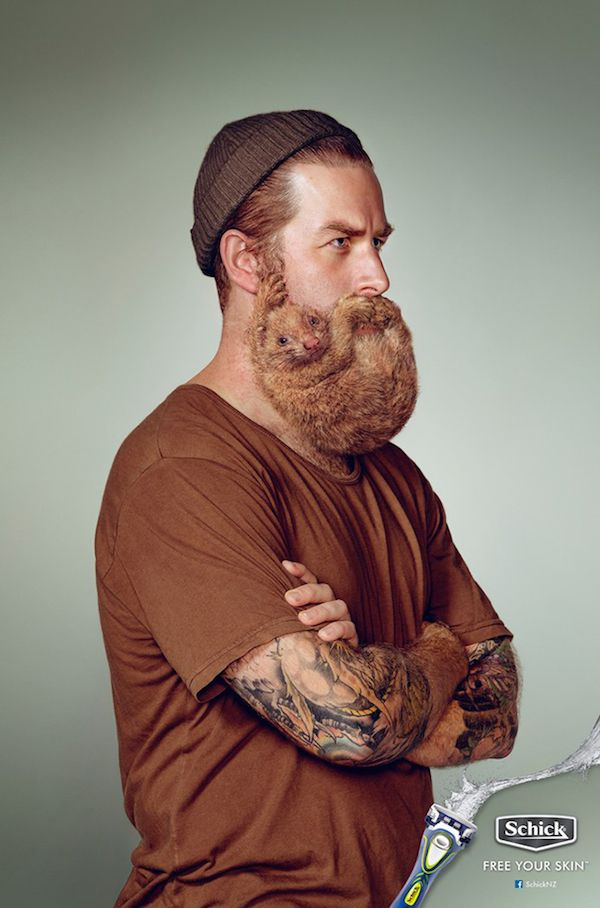 For shaving brand Schick, advertising agency Y&R New Zealand has created a humorous ad campaign that features men who have unfortunate animal beards.   It carries the message that men need to shave their facial hair before it turns into an animal, and the Schick brand can 'Free Your Skin'.   Photographs for the ads are taken by Troy Goodall and Stephen Stewart, and are retouched by Electric Art.