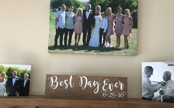 Best Day Ever wedding sign , custom wedding gift , personalized photo prop, engagement gift ,engagement photo prop ,rustic sign,stained wood