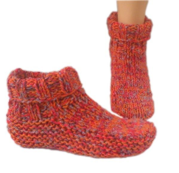 Country Ladies slipper knitting pattern download, ladies dorm boot knitting pattern download,