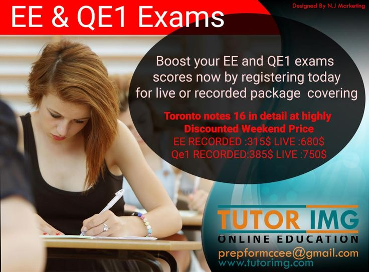 Boost your EE and QE1 exams scores now by registering today for live or recorded package covering Toronto notes 16 in detail at highly discounted weekend price EE RECORDED :315$ LIVE :680$ Qe1 RECORDED:385$ LIVE :750$  Contact : +1 289-997-4620  &  +1 705-303-8036 Email : prepformccee@gmail.com Visit : http://www.tutorimg.com