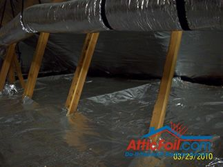 AtticFoil radiant barrier foil installation over insulation duct work in attic