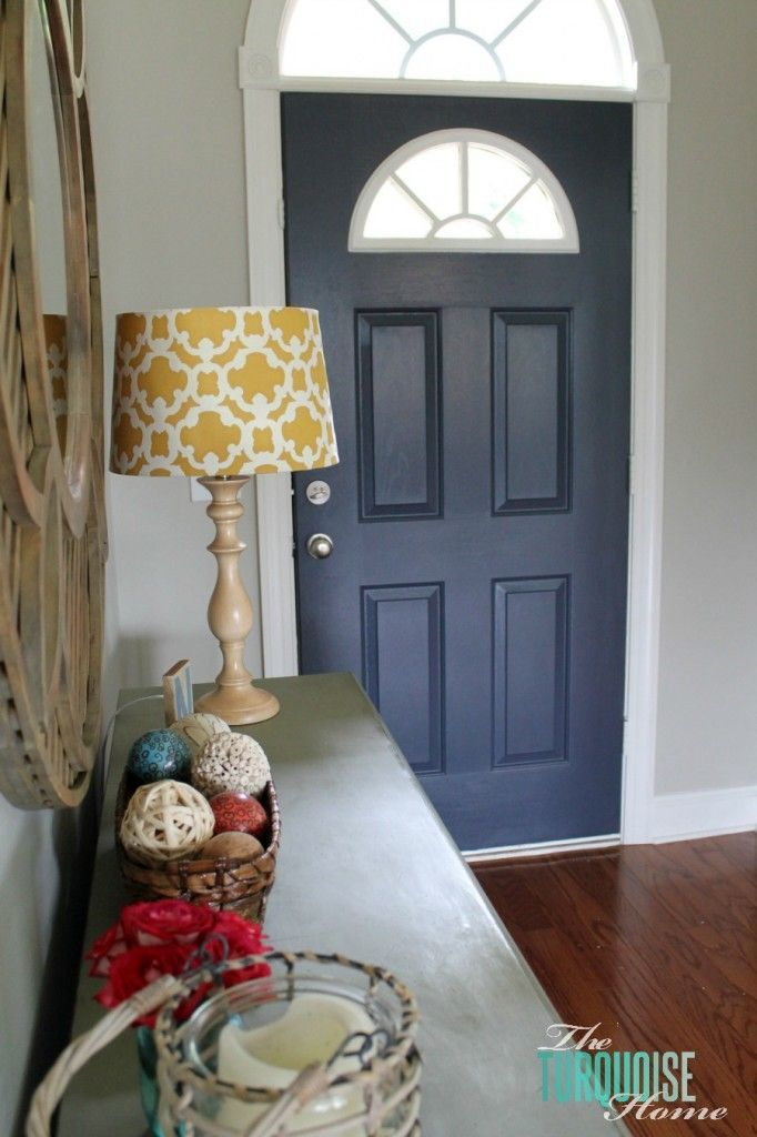 Love the wall and door color combo, bm revere pewter grey and hale navy on the door w/white trim