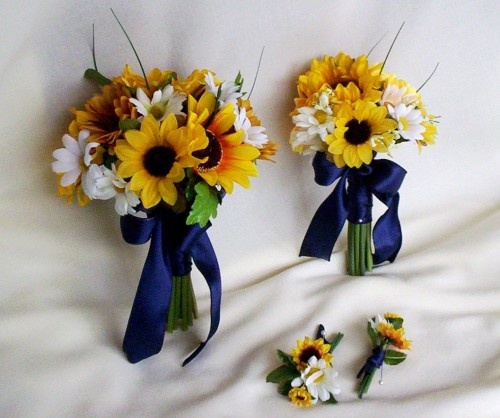Sunflower Bouquets and boutonnieres navy ribbon and no bows - like this, but with red ribbons and red gerbers mixed in there!
