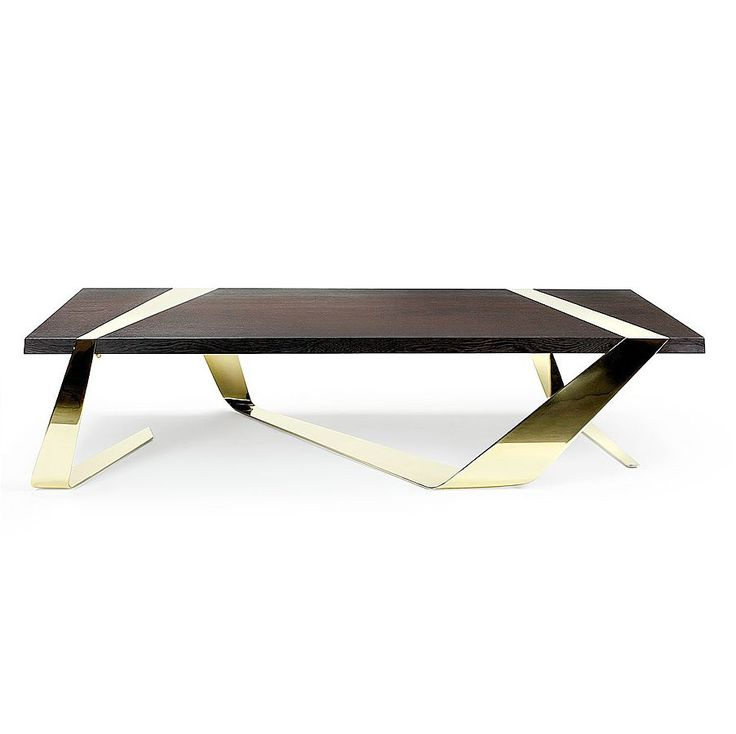 Coffee table made of mirror polished brass and solid Wengé wood.The ribbon made of brass hugs and supports the precious wood at the same time.typology: coffee tablematerial: mirror polished brass, slab of solid Wengè woodL150...