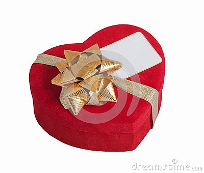 Red heart, bow and visite card with white background
