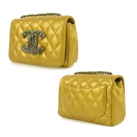 Authentic Chanel CC Logo Metallic Bronze Lambskin Crossbody Mini Flap Bag