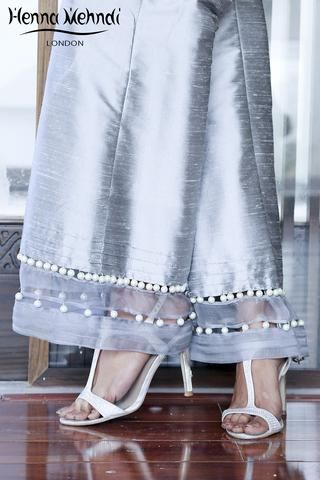 Grey Embellished Trousers - Ready Made Indian & Pakistani Clothes, Salwar Kameez, Outfits, Dresses, Suits & Trousers to Buy Online – Henna Mehndi