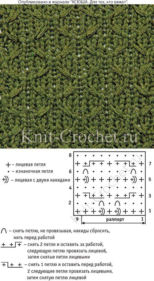 Узор с уплотненной структурой полотна для вязания спицами со схемой и условными обозначениями.