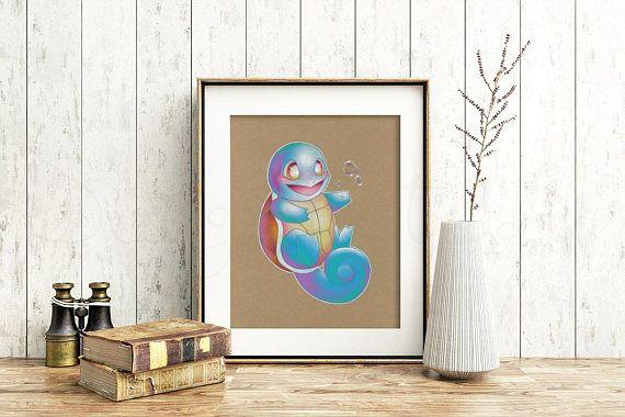 Squirtle Art Signed Print Pokemon Art Pokemon Geek Art