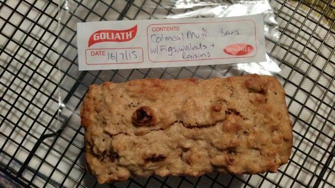 Oatmeal Muffin Bar with Figs,  Walnuts & Raisins. Made using coconut yogurt for a lighter taste.