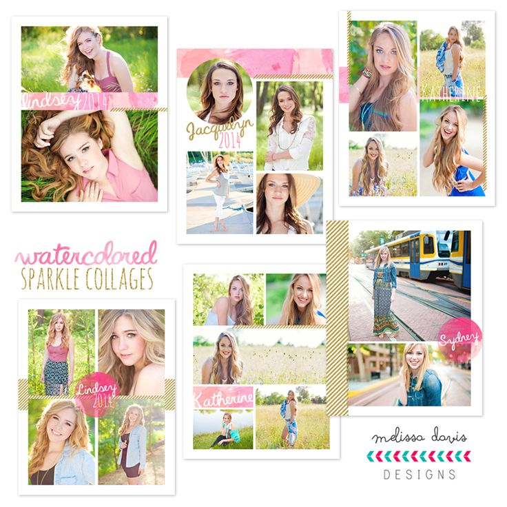 Watercolored Sparkle Collages - $16.00 : Photoshop Templates for Photographers l templates for photographers l photo card templates, Fun and Unique Photoshop templates for photographers