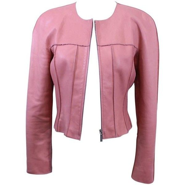 Preowned Chanel Pink Leather Jacket Size 40 ($1,160) ❤ liked on Polyvore featuring outerwear, jackets, pink, chanel jacket, pink jacket, genuine leather jackets, chanel and real leather jackets