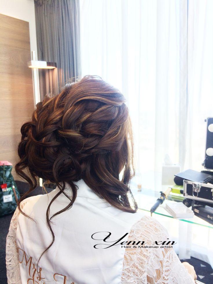 Bridal hairstyle, glamour wedding hairstyle, braiding hairstyle, updo