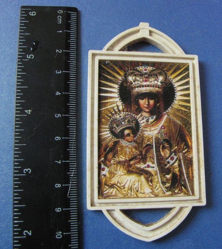 Vintage Holy Card Plaque Jesus Maria Christianity Religion Spiritual Souvenir