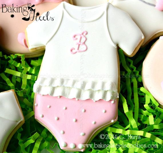 Listing is for one dozen (12) Monogram Baby Onesie cookies **Color is customizable. Ruffle can be replaced with stripes for boy cookies**