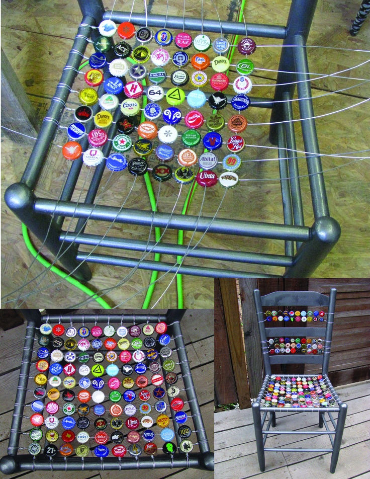 """got this idea from all the fun bottle cap art i've collected from africa.  first you need an old chair that needs a new seat.  i spray painted this one with a cool metallic silver.  took a nail and hammer and poked four holes into each bottle cap.  then it is a matter of weaving the wire through and wrapping the ends.  (fyi fencing wire is cheap at farm supply stores.)"" Clever, clever."