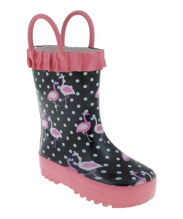 Look at this Black & Pink Flamingo Rain Boot on #zulily today!