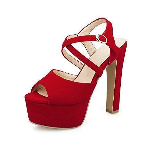 Oferta: 56€ Dto: -24%. Comprar Ofertas de VogueZone009 Mujeres Peep Hebilla Esmerilado Sólido Tacón ancho Sandalia, Rojo, 36 barato. ¡Mira las ofertas!