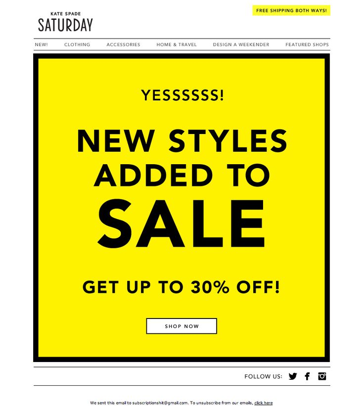 Kate Spade Saturday Email: Yesssss!