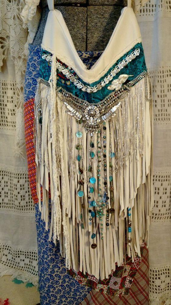 Handmade Ivory Leather Fringe Cross Body Bag Boho Hobo Hippie Gypsy Purse tmyers #Handmade #MessengerCrossBody