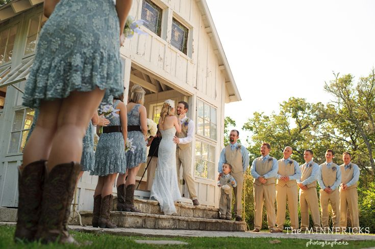 Bridesmaid dress inspiration.. I like this blue color too.....pretty in the lace as well.. :) Southern vintage wedding at 7F Lodge in College Station with boots and a chapel (19)