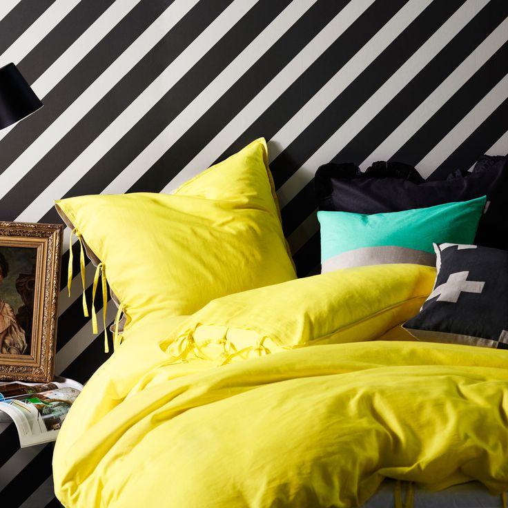 Maison Quilt Cover in Bright Yellow #aurahome #aura #bedlinen #decor #neon