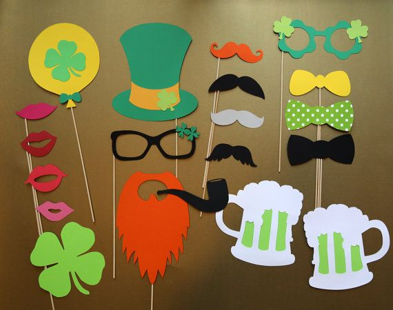 St. Patrick's Day Party Photobooth Props Holiday Photo Booth Props Set of 20