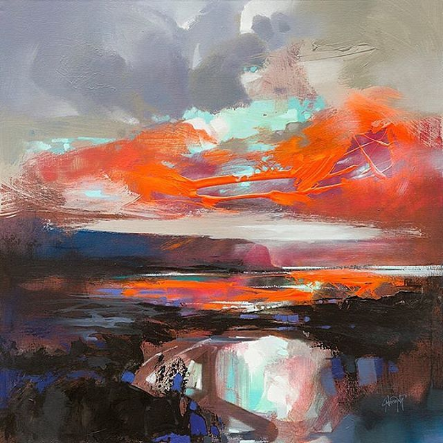 One of my larger 1 metre square paintings at @theartagency.esher #Esher # Surrey #skye #uig