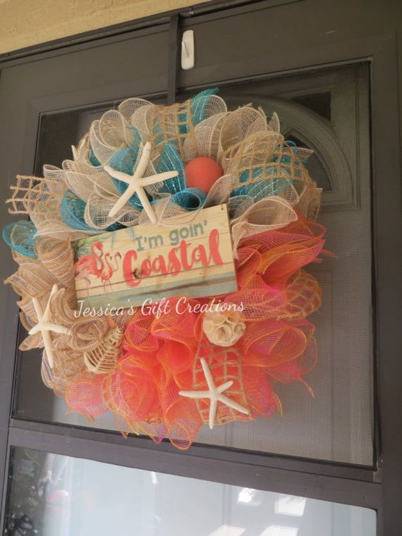 Need to dress up your front door? This is a made to order wreath~~  Love the colors~ ivory/tan mesh with coral mesh and a hint of turquoise mesh, jute ribbon, starfish and other embellishments with a wood sign Im Goin Coastal. Just love it! Know someone who would love this wreath? This makes a great birthday or just because gift!! **Safe to hang outside and also makes the perfect final touch decor to any room inside your home! ~*~Measures approx 21 diameter and 6 deep ~*~  Each wreath is...