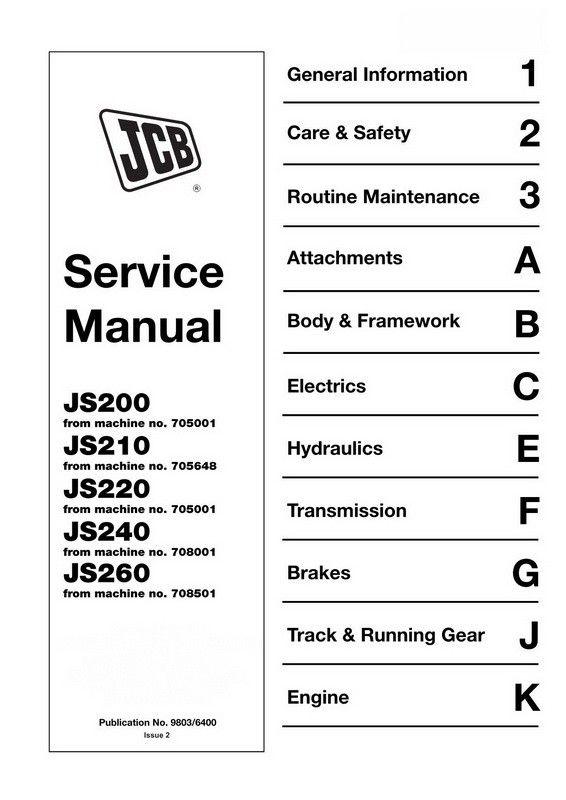JCB JS200, JS210, JS220, JS240, JS260 Tracked Excavator ... on