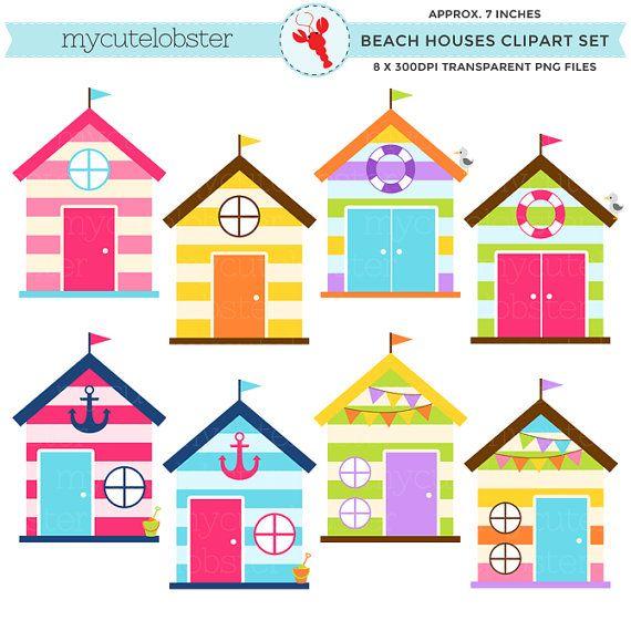 Beach Houses Clipart Set clip art set of by mycutelobsterdesigns