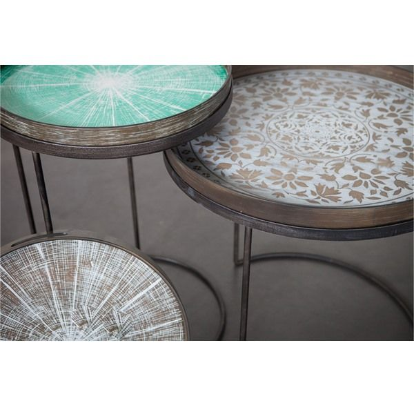 Notre Monde | Round Tray Tables   Set   High   20721   Metal Frame