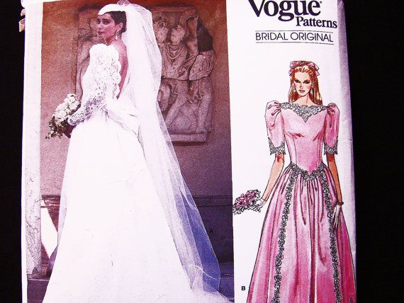 Vintage Vogue Wedding Dress Pattern size 12 Deep V Back Long