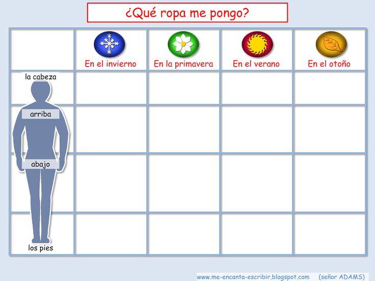 II, 10 - Me encanta escribir en español: La ropa y las estaciones del año: ¿Qué me pongo?