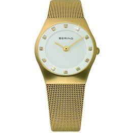 Bering Ladies Brushed Stainless Steel Yellow Gold Plate White Dial With Swarovski Crystal/ Sapphire Crystal Glass Gold Mesh Band 50M