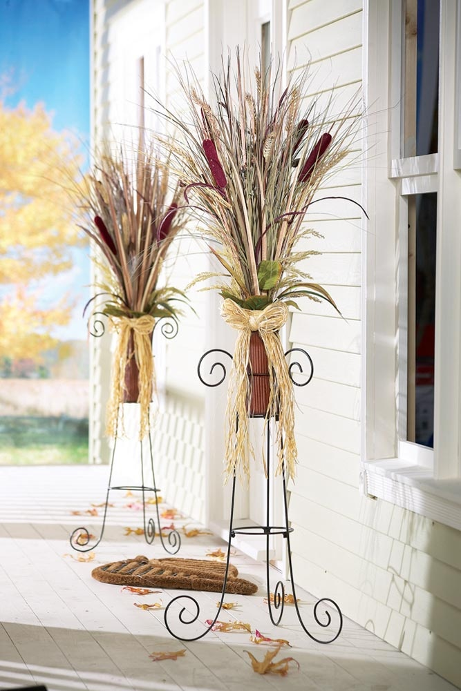 cattail arrangement - add chinese lanterns and more twigs.  Use different pots