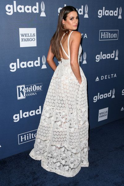 Lea Michele in Elie Saab attends the 27th Annual GLAAD Media Awards on April 2, 2016
