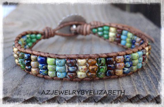 Beaded Wrap Bracelet/ Seed Bead Leather by AZJEWELRYBYELIZABETH