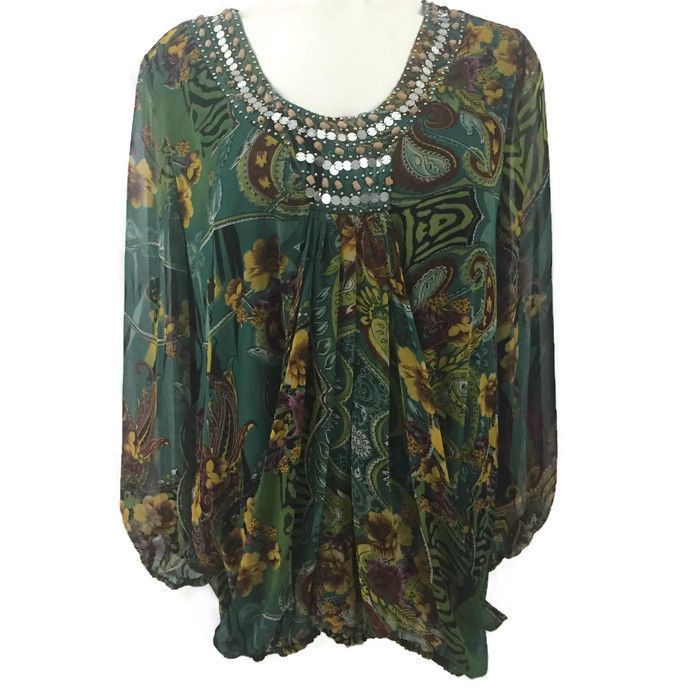Diva Collection Green Floral Boho Hippie Chick Embellished Neck Blouse Sz 3X #DivaCollection #Blouse #Casual