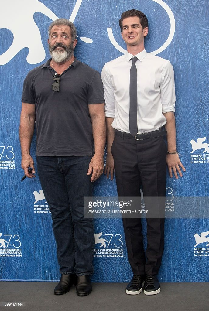 Mel Gibson and Andrew Garfield attend a photocall for 'Hacksaw Ridge' during the…