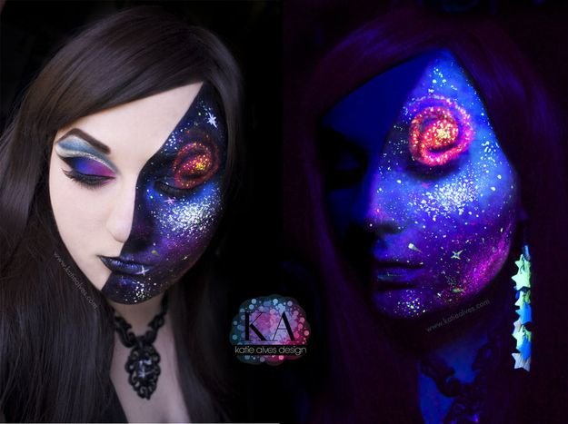 Or make use of this galaxy dress and go as the Milky Way. |  Easy Halloween Costume Ideas Using Only Black Light Makeup