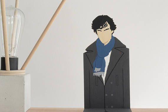 Sherlock Holmes Wooden Figurine Benedict Cumberbatch Popular Character  Shelf Decor Movie Series Characters