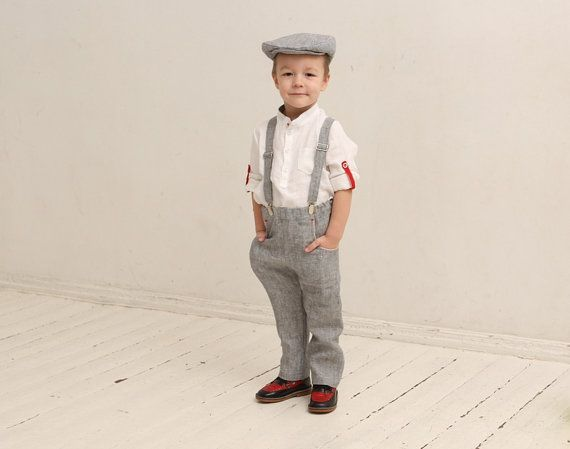12a336276 Ring bearer outfit Wedding party outfit Page boy outfit Family photo prop  Boys linen suit Linen suspenders Rustic wedding | linen